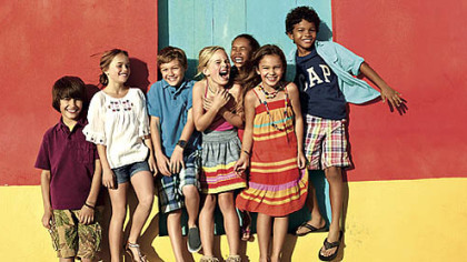 Apparel from the GapKids Cabana collection includes embroidered rompers, denim vests, plaid shorts, graphic tees, striped dresses and more.