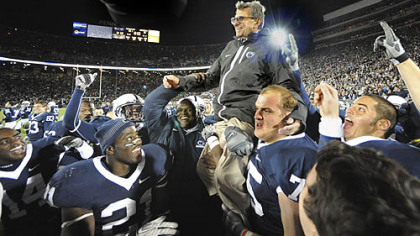 Joe Paterno gets carried off the field after getting his 400th win against Northwestern at Beaver Stadium on November 6, 2010.