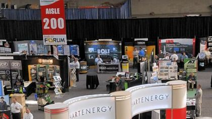 A display for Hart Energy sits on the main floor of the David L. Lawrence Convention Center.