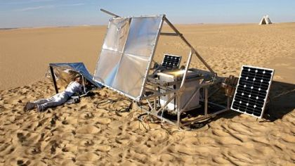 "Markus Kayser traveled to the Sahara to explore energy production and raw material, combining micro-manufacturing with natural energy in ""SolarSinter,"" a custom-made 3-D printer that used solar power to transform sand into glass objects."