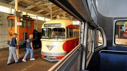 "The Pennsylvania Trolley Museum in Chartiers. The 2009 exhibit shown here, ""Anything on Wheels,"" featured antique cars, oldies music and trolley upon trolley running up and down the line."