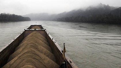 The Consol Energy towboat Aliquippa takes two barges of sand up the Monongahela River to Monessen.