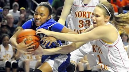Steelton-Highspire&#039;s Jazmine Blanding, left, grabs a rebound against North Catholic&#039;s Angela Nowacki in the PIAA Class A championship game.
