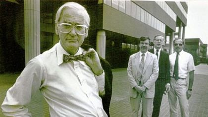 David Lewis (at left) with fellow architect Raymond Gindroz, Donald Carter and James Goldman at North Shore Center in 1986.