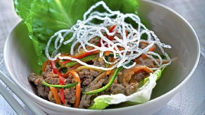 Rainbow Beef in Lettuce Cups can be made with ground chicken, too.