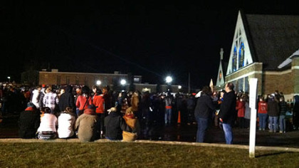 Scene outside vigil at St. Mary's Church in Chardon, Ohio.