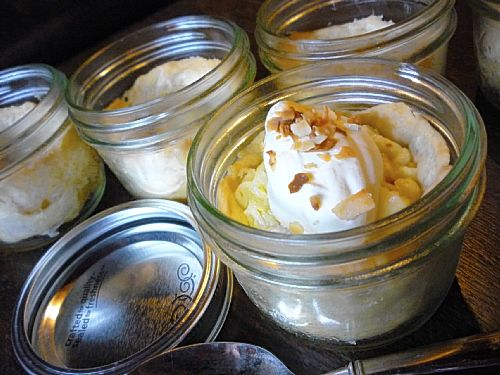Coconut Cream Jar Pies in canning jars.