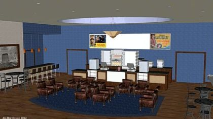 Architectural rendering of future lobby of the Manor Theater. Renovation could be completed by the theater's 90th anniversary in May.