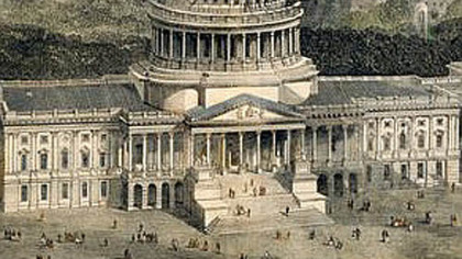 "From cover of ""Freedom's Cap"": a detail from ""Bird's Eye View of the City of Washington with the Capitol in the Foreground,"" from collection of U.S. Senate"