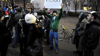 Occupy Pittsburgh protesters hold one final news conference Wednesday before leaving the Mellon Green, Downtown.