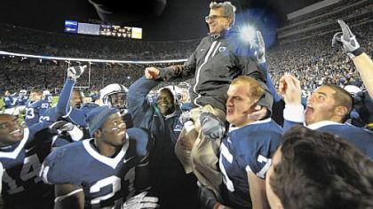 Joe Paterno is carried from the field in Beaver Stadium after his 400th victory last fall. Will the stadium be renamed in his honor?