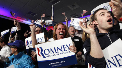 Supporters of Republican presidential candidate former Massachusetts Gov. Mitt Romney celebrate as it was declared that he was the winner of the New Hampshire primary.