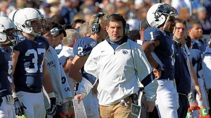 Assistant coach Jay Paterno walks the Penn State sideline for perhaps the last time in Monday's TicketCity Bowl at the Cotton Bowl in Dallas. With no decision yet on a new head coach, Paterno and other assistants still plan to hit the recruiting trail starting today.