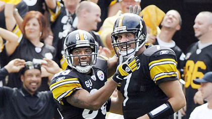 Hines Ward celebrates a touchdown against the Houston Texans with quarterback Ben Roethlisberger during a 2008 game at Heinz Field.