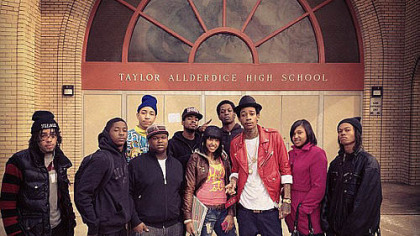 Wiz and some Real Taylors on Feb. 28 at his alma mater, posted on the RealWizKhalifa Twitter account