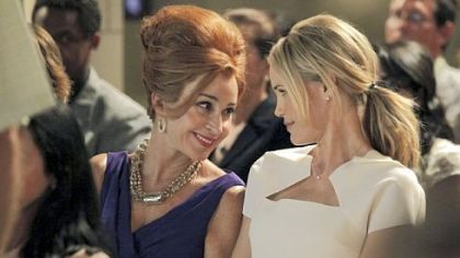 "Leslie Bibb, right, portrays a woman who moves back to her Texas town and must deal with her mother, played by Annie Potts, as well as the girls she tormented in high school in ""GCB."""