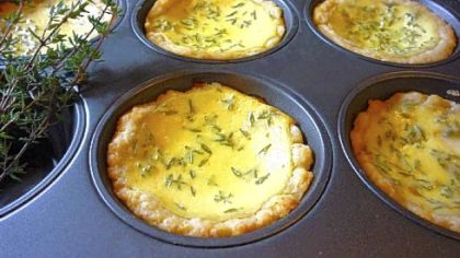 Farmer Cheese Pies made in a muffin pan.
