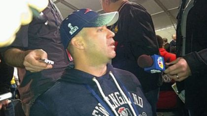 Bill O'Brien, the New England Patriots offensive coordinator, does an interview Wednesday in Indianapolis. As the incoming Penn State coach, O'Brien was landing his first collegiate recruiting class.