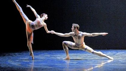 "Elysa Hotchkiss and Robert Moore in ""Chromatic,"" part of Pittsburgh Ballet Theatre's ""Uncommon"" program."