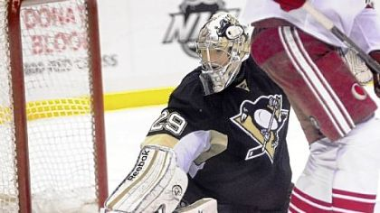 Marc-Andre Fleury makes a save Monday against Phoenix in the last minute of the third period at Consol Energy Center.