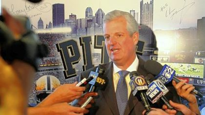 Pitt athletic director Steve Pederson, answering questions at a news conference in 2011, isn't ruling out legal action in order to leave the Big East early.