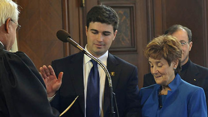 Corey O'Connor, son of the late Pittsburgh Mayor Bob O'Connor, is sworn in as the city councilman for District 5.  His mother Judy O'Connor holds the Bible.