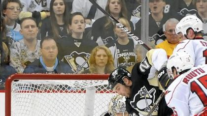 Marc-Andre Fleury made 25 saves as the Penguins outlasted Carolina, 2-1, in a shootout Tuesday at Consol Energy Center == Fleury's 22nd win of the season.