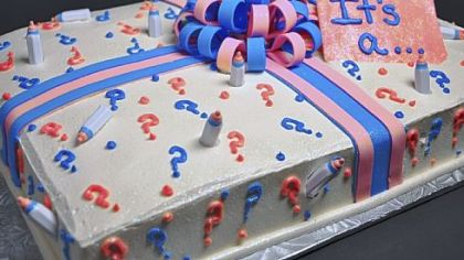 Bethel Bakery Gender Reveal Cake.