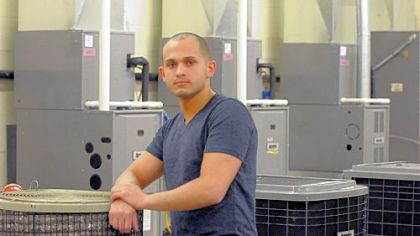Adam Jumblat, a student in the heating and air conditioning technology program at the West Hills campus of Community College of Allegheny County, compared graduation rates and price  before choosing CCAC.