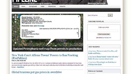 Pipeline, the PG's interactive website on the Marcellus Shale, won the Best Blog award in the print category of this year's Society of American Business Editors and Writers Best in Business contest.