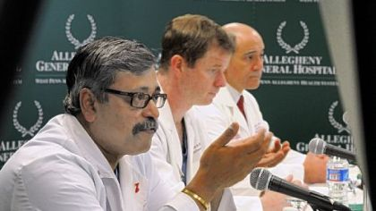 From left, Allegheny General Hospital doctors Srinivas Murali, Stephen Bailey and Raymond Benza talk to the media about the SynCardia temporary total artificial heart that was implanted in a 62-year-old Pittsburgh man on Feb. 17.