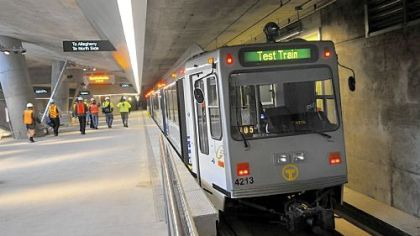 A train at the new Gateway Station, Downtown, readies for a round trip to the North Shore on Monday.