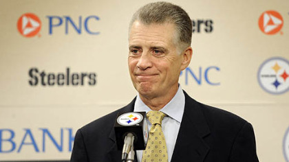 Steelers' team president Art Rooney II talks talks to reporters after the NFL and players association ended the lockout in July 2011.