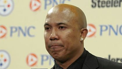 Hines Ward at the press conference announcing his retirement from football.