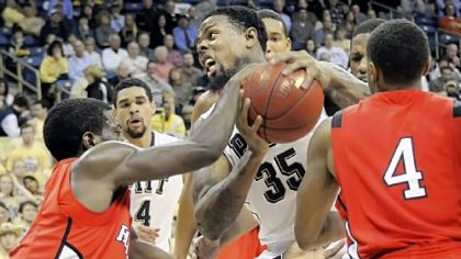 Nasir Robinson struggles to get a shot off against Rutgers Wednesday.
