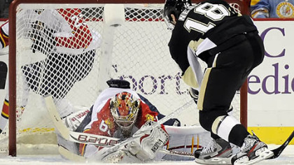 Florida's Jose Theodore stops a shot by Penguins James Neal in the second period at Consol Energy Center Friday.
