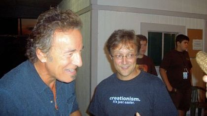 "Witold ""Vic"" Walczak, right, meets Bruce Springsteen backstage before a concert in Hershey in 2008. At the concert Mr. Springsteen played ""Part Man, Part Monkey"" and dedicated it to ""the Dover parents and good science education"" for their legal challenge against the teaching of intelligent design."