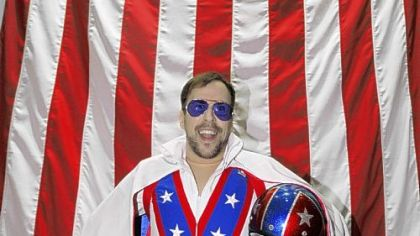 Joe King dressed as Evel Knievel.
