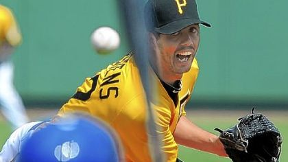 Jeff Karstens pitched three scoreless innings Wednesday against Toronto in Bradenton, Fla.