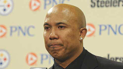 A tearful Hines Ward announces his retirement at a press conference today at the Steelers offices on the South Side.