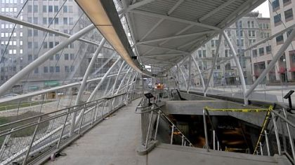 Natural light brightens the new T station at Gateway Center.