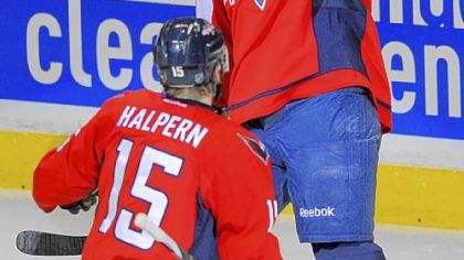 Washington's Jason Chimera, right, celebrates his goal == the only one of the game == with Jeff Halpern in the first period Wednesday night in Washington. The loss was the Penguins sixth in a row.