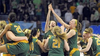 Seton-LaSalle teammates celebrate after defeating York Catholic and winning the PIAA Class AA championship at the Bryce Jordan Center this past Friday.