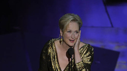 "Meryl Streep accepts the Oscar for best actress for ""The Iron Lady."""