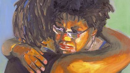 """Embrace"" by Beverly McIver."