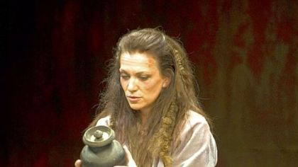 Catherine Eaton in the title role of Pittsburgh Public Theater&#039;s production of &quot;Electra.&quot;