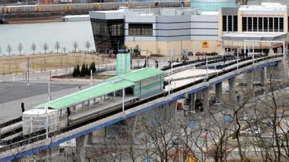 The Port Authority's Allegheny T Station on the North Shore with the Rivers Casino in the background.