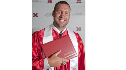 Ben Roethlisberger graduation photo from Miami University Oxford, School of Education Health and Society.