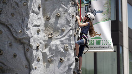 One of many free activities, the climbing wall is a great opportunity to test one's vertical skills during Great Outdoors Week.