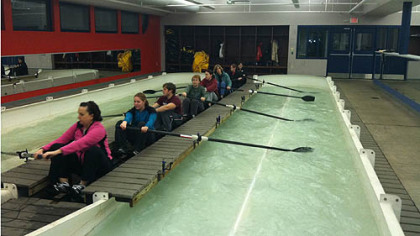 During the Learn to Row and Paddle event, participants get a feel for the sport in the indoor rowing tanks at Three Rivers Rowing's Millvale Facility.